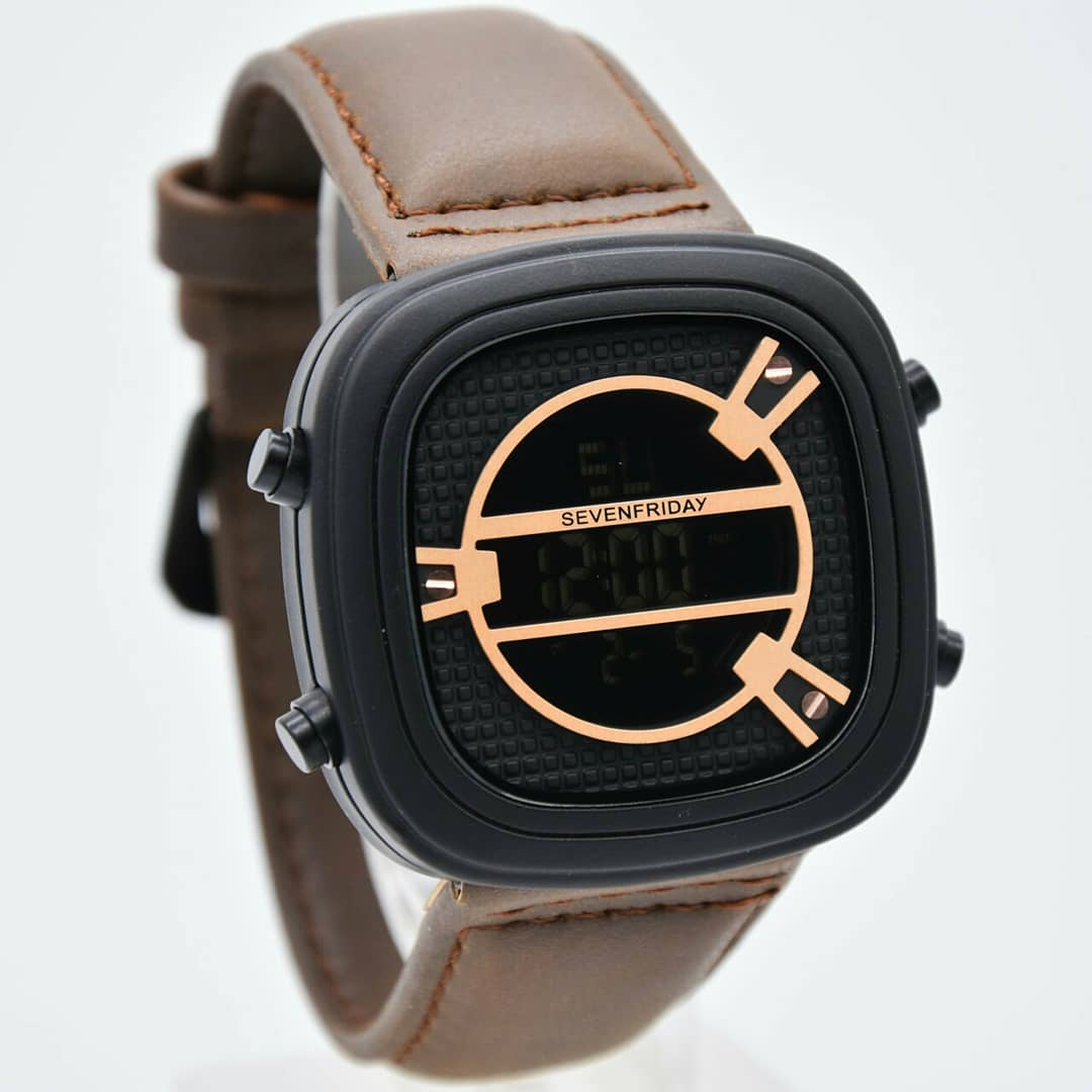 Jam tangan pria / Watch for men Sevenfriday leather - dark brown gold