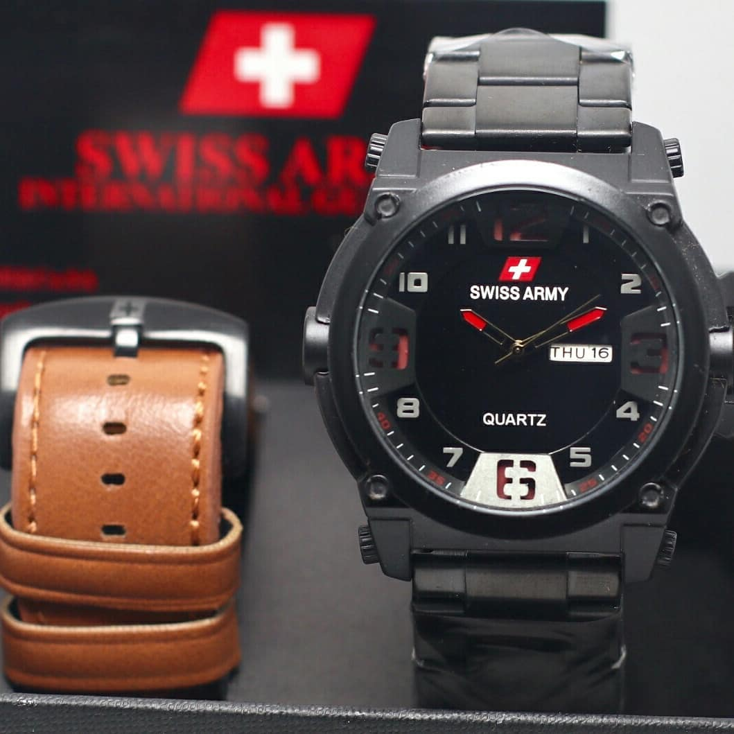 Jam tangan pria / Watch for men Swiss Army Free strap brown - black red