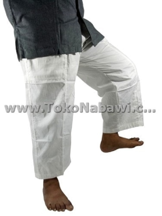 Celana Laa Isbal Sirwal/Celana Cingkrang Pria Diatas Mata Kaki Katun - putih