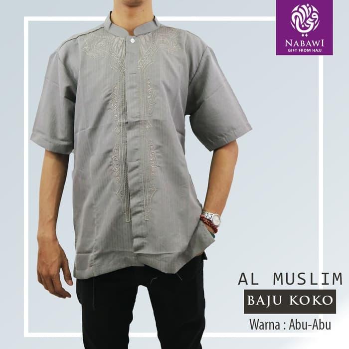 Baju Koko Baju Taqwa Al Muslim Bordir Lengan Pendek Busana Muslim Pria - abu abu